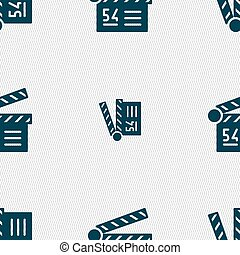 Cinema, movie icon sign. Seamless pattern with geometric texture. Vector