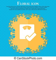 bathroom scales icon sign. Floral flat design on a blue...