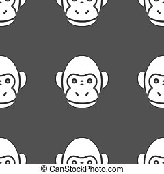 Monkey icon sign. Seamless pattern on a gray background. Vector