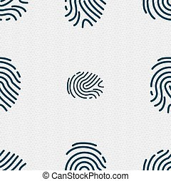 Scanned finger Icon sign. Seamless pattern with geometric...