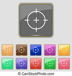 sight icon sign. Set with eleven colored buttons for your...