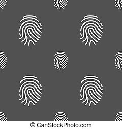 Scanned finger Icon sign. Seamless pattern on a gray...