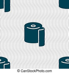 toilet paper icon sign. Seamless pattern with geometric...