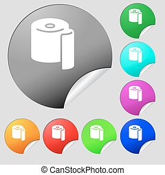 toilet paper icon sign. Set of eight multi colored round...