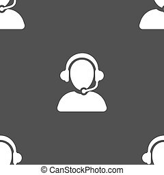 Customer support icon sign. Seamless pattern on a gray...