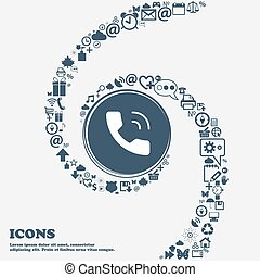 Phone icon in the center. Around the many beautiful symbols twisted in a spiral. You can use each separately for your design. Vector