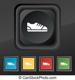shoe icon symbol. Set of five colorful, stylish buttons on black texture for your design. Vector