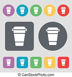 coffee icon sign. A set of 12 colored buttons. Flat design. Vector