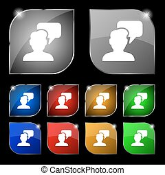 People talking icon sign. Set of ten colorful buttons with glare. Vector