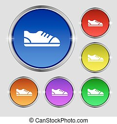 shoe icon sign. Round symbol on bright colourful buttons. Vector