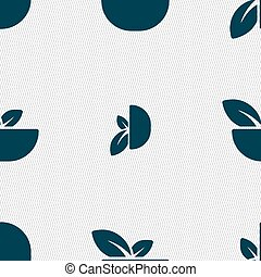 Organic food icon sign. Seamless pattern with geometric texture. Vector
