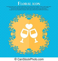 Two glasses of wine or champagne icon sign. Floral flat design on a blue abstract background with place for your text. Vector