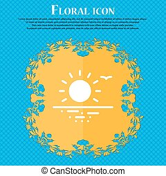 sunset icon sign. Floral flat design on a blue abstract background with place for your text. Vector