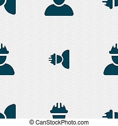 Construction worker, builder icon sign. Seamless pattern with geometric texture. Vector