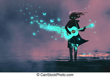 girl playing guitar with a blue light and glowing...