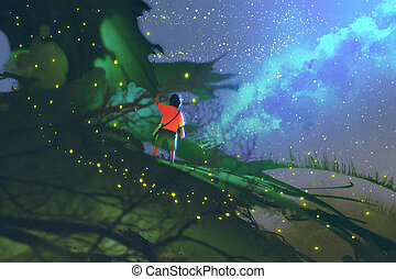 little boy standing on giant leaves looking at a night...