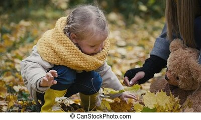 Mother and her daughter little girl playing in a autumn park - mom gives child maple leaf, close up