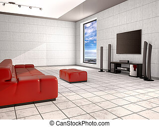Home cinema room with red sofa. 3d illustration