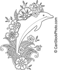 Coloring page with one jumping dolphin on floral waves....