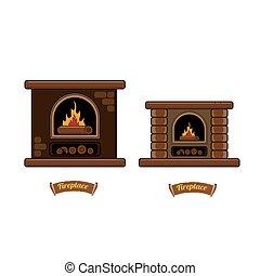 fireplace icon set isolated on white.