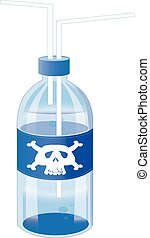toxic drinking water on blue blue plactic bottle