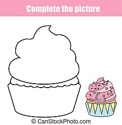 Complete the picture children educational drawing game....