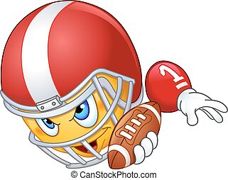 American football player emoticon with ball