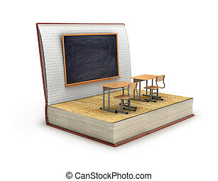 knowledge concept, school desk and blackboard with wooden...