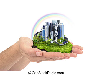 human hand holding the city. 3d illustration