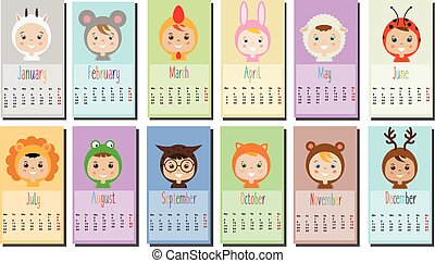 2017 year calendar with Kids in party Outfit. Children in...
