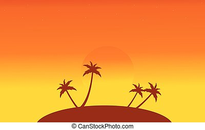 Silhouette of islands at sunset scenery vector illustration