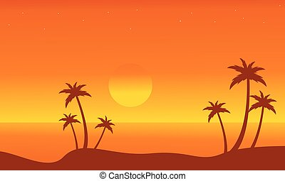 Silhouette of beach on orange backgrounds vector...