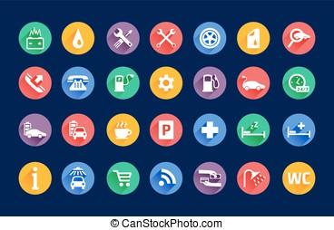 Roadside services transportation icons vector set - Roadside...
