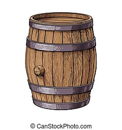 Side view of sketch style standing wooden barrel - Side view...