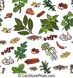 Seamless pattern of hand drawn spices and herbs, sketch...