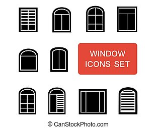 window icons set with red signboard - window isolated icons...
