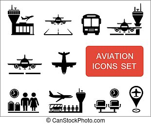 plane and aviation icons with red signboard - plane...
