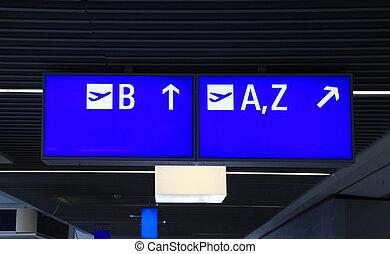 informazioni, internazionale, aeroporto, segno