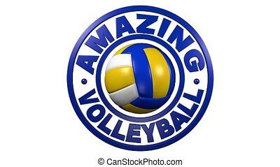 Beach Volleyball circular design with a white background -...