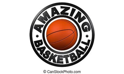 Basketball circular design with white background - Amazing...