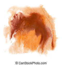 paint splash color ink watercolor isolated brown stroke...