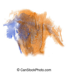 paint splash orange blue color ink watercolor isolated...