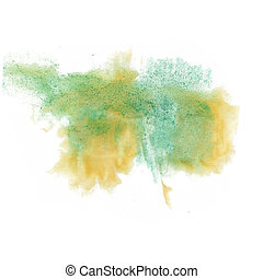 paint splash color ink orange green watercolor isolated...