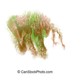 paint splash color ink watercolor pink green brown isolated...