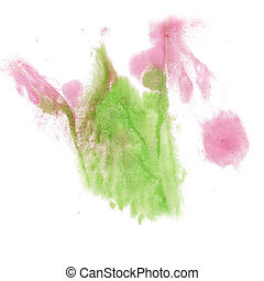 paint splash color ink green pink watercolor isolated stroke...