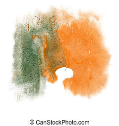 paint splash color ink watercolor isolate green orange...