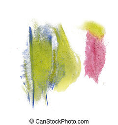 paint splash yellow blue pink color ink watercolor isolated...