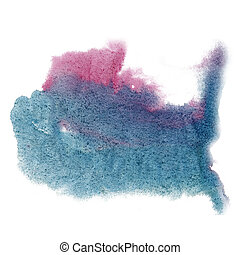 paint splash color ink watercolor isolated pink blue stroke...