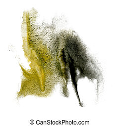 paint yellow black splash color ink watercolor isolated...
