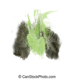 paint splash color ink black green watercolor isolated...